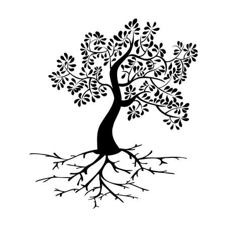 Black tree icon and roots silhouette isolated background. Vector file layered for easy manipulation and custom coloring. Vector