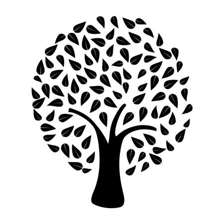 Black tree silhouette on white background . Vector file layered for easy manipulation and custom coloring. Vector