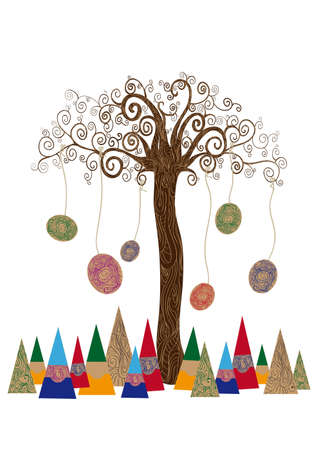 Art id?e de l'arbre de style noveau isol? fond. Cette illustration est en couches pour une manipulation facile et la coloration personnalis?e Banque d'images - 20603045