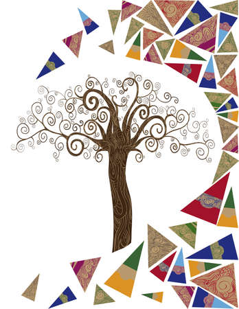 idea: Art noveau style tree idea isolated background. This illustration is layered for easy manipulation and custom coloring