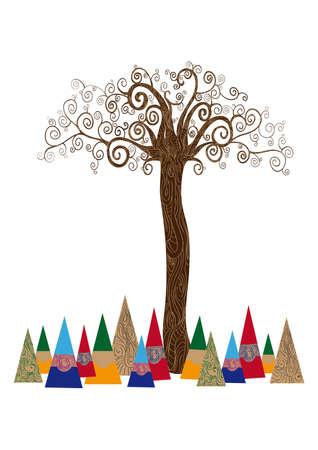 ce: Art id?e de l'arbre de style noveau isol? fond. Cette illustration est en couches pour une manipulation facile et la coloration personnalis?e Illustration
