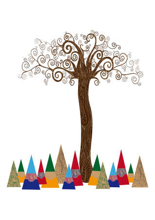 Art noveau style tree idea isolated background. This illustration is layered for easy manipulation and custom coloring Stock Vector - 20602774