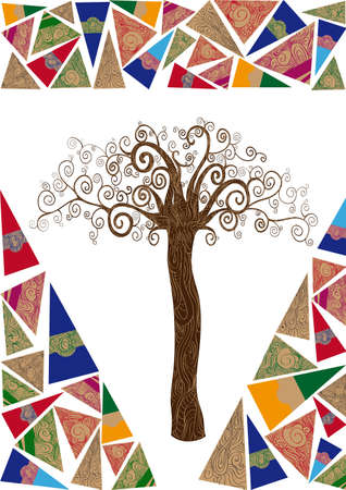 Art deco style tree idea isolated background. This illustration is layered for easy manipulation and custom coloring Vector