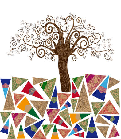 layered: Art noveau style tree idea isolated background. This illustration is layered for easy manipulation and custom coloring