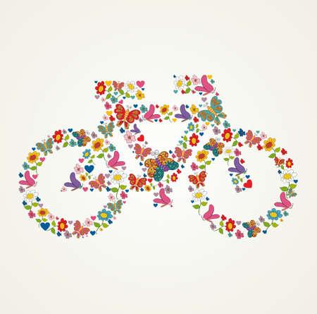 Primavera de flores y mariposa iconos de la textura en el icono verde de la bici forma fondo de la composici�n. Ilustraci�n vectorial en capas para la manipulaci�n f�cil y colorante de encargo.