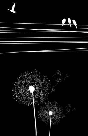 High contrast cables and birds, blown dandelion on black background. Vector file layered for easy manipulation and custom coloring. Vector