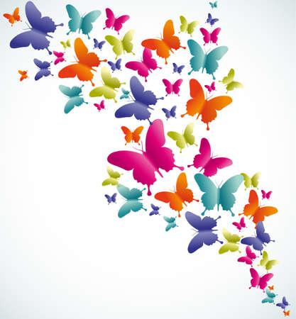 naturaleza: Primavera mariposa colorida composición. Ilustración vectorial en capas para la manipulación fácil y colorante de encargo. Vectores