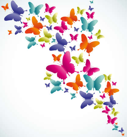 rainbow colours: Spring butterfly colorful composition. Vector illustration layered for easy manipulation and custom coloring.