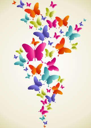 Primavera composición de color de la mariposa. Ilustración vectorial en capas para la manipulación fácil y colorante de encargo. Foto de archivo - 20602968