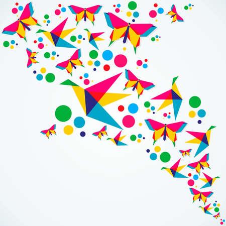 Voorjaar origami vlinder en vogels kleurrijke compositie. Vector illustratie gelaagd voor eenvoudige manipulatie en aangepaste kleuren.