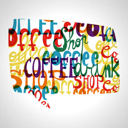 Colorful coffee shop social bubble shape .EPS10 file version. This illustration contains transparencies and is layered for easy manipulation and custom coloring. Vector