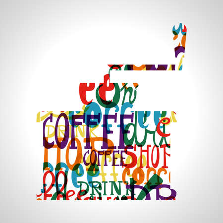 Colorful coffee circle shape.EPS10 file version. This illustration contains transparencies and is layered for easy manipulation and custom coloring. Vector