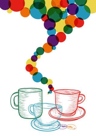 컬러 풀 한 소셜 커피 숍 concept.EPS10 파일 버전. 이 그림은 투명 필름을 포함하고 쉬운 조작 및 사용자 지정 색상에 적층