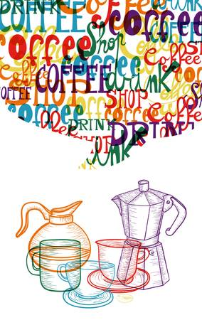 vintage colorful coffee isolated concept. EPS10 file version. This illustration contains transparencies and is layered for easy manipulation and custom coloring. Illustration