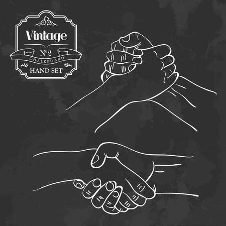 hands: Retro blackboard people shaking hands set. Vector illustration layered for easy manipulation and custom coloring.