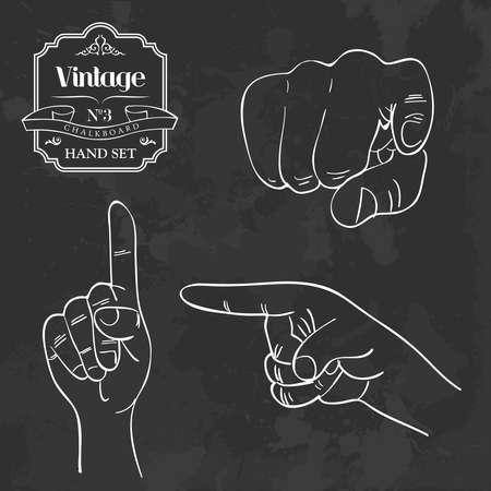 designate: Retro blackboard designate hand set. Vector file layered for easy manipulation and custom coloring. Illustration