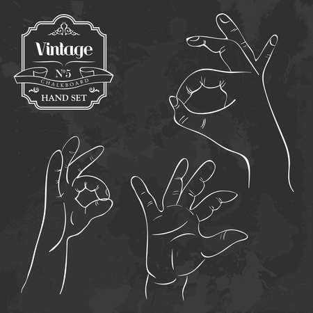 Retro blackboard set with I agree hand gestures set. Vector file layered for easy manipulation and custom coloring. Vector