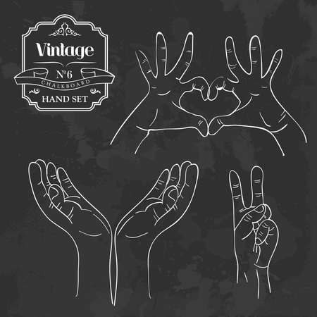 Retro style blackboard with different hand gestures set. Vector illustration layered for easy manipulation and custom coloring. Vector