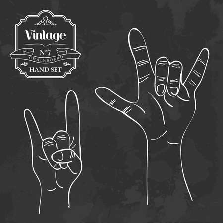 rock hand: Retro blackboard set metal and rock & roll hand gesture. Vector illustration layered for easy manipulation and custom coloring. Illustration