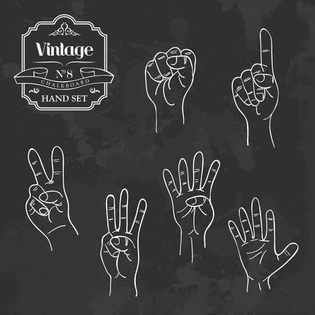 second hand: Retro blackboard set with counting hands gestures set. Vector illustration layered for easy manipulation and custom coloring.