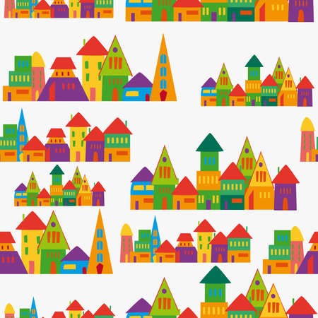 Trendy town seamless pattern. This illustration is layered for easy manipulation and custom coloring. Vector