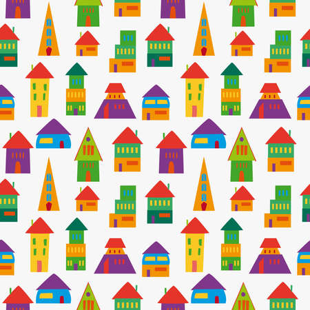 Trendy multicolored cute houses seamless pattern. This illustration is layered for easy manipulation and custom coloring. Vector