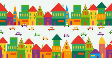 Trendy town seamless pattern design. This illustration is layered for easy manipulation and custom coloring. Vector