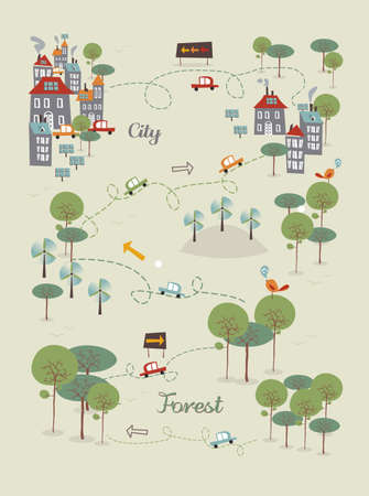 Trendy Go green city infographics concept. Vector illustration layered for easy manipulation and custom coloring. Ilustrace