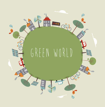 solar house: Trendy colorful go green world. Vector illustration layered for easy manipulation and custom coloring.