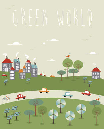 solar panel house: Go green world infographics trendy sketch. Vector illustration layered for easy manipulation and custom coloring.