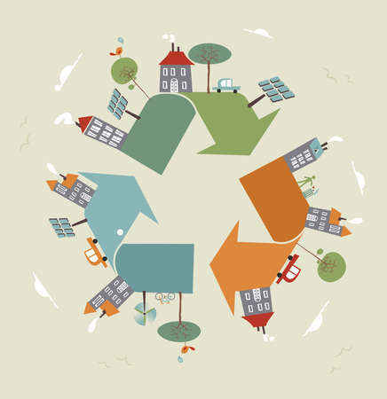 way to go: Go green recycle trendy symbol world. Vector illustration layered for easy manipulation and custom coloring.