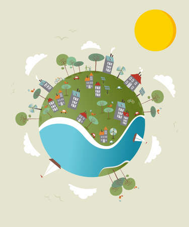Cute go green environment world sketch. Vector illustration layered for easy manipulation and custom coloring. Stock Vector - 20602901