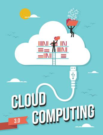 optimize: Cloud computing business concept retro illustration. Vector file layered for easy manipulation and custom coloring.