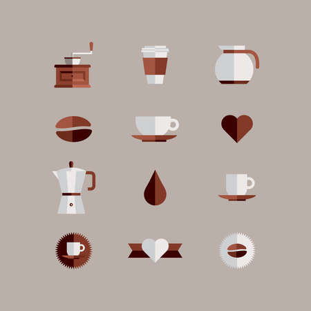 Colorful coffee shop icon setover beige background. Vector file layered for easy manipulation and custom coloring. Vector