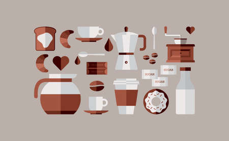 coffee machine: Colorful coffee breakfast icon set over beige background. Vector file layered for easy manipulation and custom coloring. Illustration