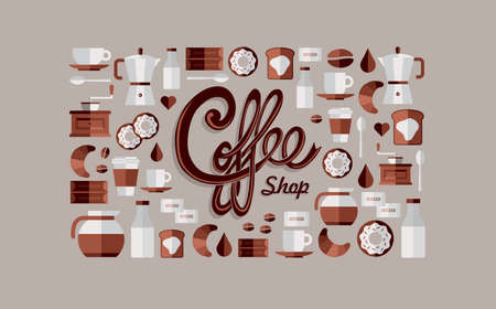 coffee machine: Colorful coffee shop icon over beige background set. Vector file layered for easy manipulation and custom coloring.