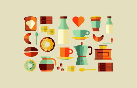 spattered: Icono colorido de caf� sobre fondo conjunto salpicado. Archivo vectorial en capas para la manipulaci�n f�cil y colorante de encargo.