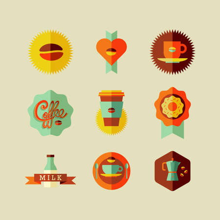 machine shop: Colorful coffee shop flat icons over beige background set. Vector file layered for easy manipulation and custom coloring.