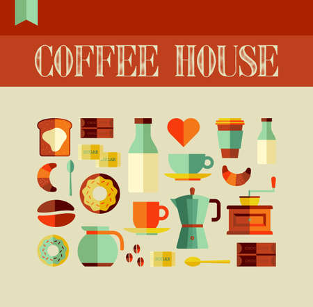 Colorful coffee house concept background. Vector file layered for easy manipulation and custom coloring. Vector