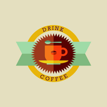Retro drink coffee shop label in warm colors. Vector file layered for easy manipulation and custom coloring. Vector