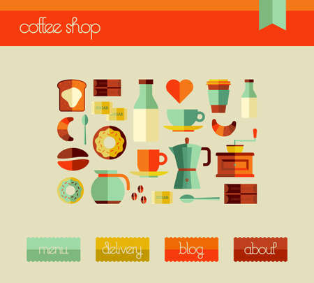 Cafe graphic user interfase for web and mobile devices with icon set. Vector file layered for easy manipulation and custom coloring. Vector