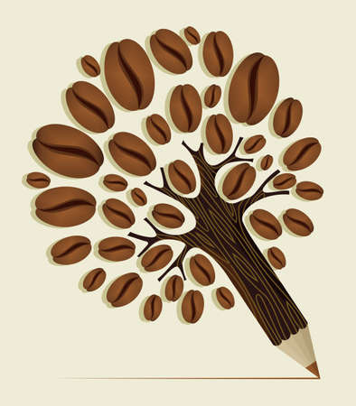 pencil plant: Coffee Beans pencil tree wood textured. Vector file layered for easy manipulation and custom coloring. Illustration