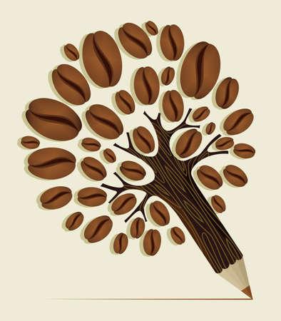 planta de frijol: Granos de café lápiz árbol de madera de textura. Archivo vectorial en capas para la manipulación fácil y colorante de encargo.