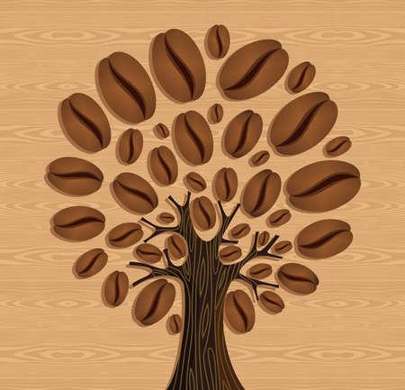 arbol de cafe: Cafeto sobre madera sin patr�n. Archivo vectorial en capas para la manipulaci�n f�cil y colorante de encargo.