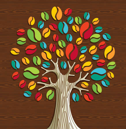 Colorful coffee beans tree over wood seamless pattern. Vector file layered for easy manipulation and custom coloring. Vector