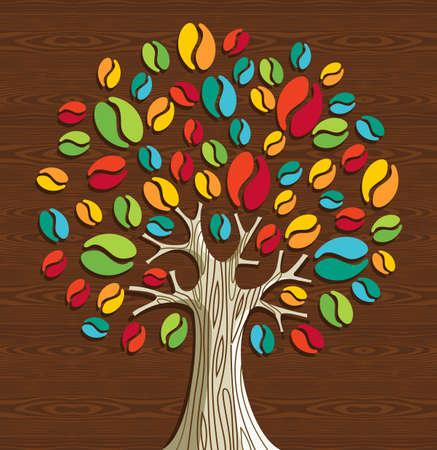 arbol de cafe: Granos de caf� coloridas del �rbol sobre la madera sin patr�n. Archivo vectorial en capas para la manipulaci�n f�cil y colorante de encargo. Vectores