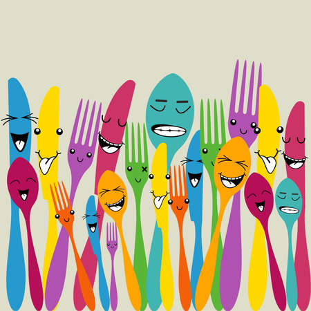 cartoon food: Multicolored happy social cutlery icons seamless pattern . Vector file layered for easy manipulation and custom coloring.