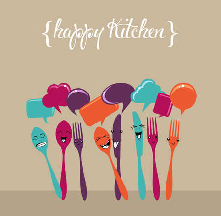 cartoon food: Colorful happy social network silverware icons set. Vector file layered for easy manipulation and custom coloring.