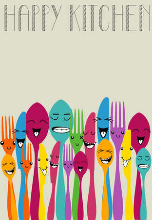 layered: Colorful silverware funny cartoon set . Vector file layered for easy manipulation and custom coloring.