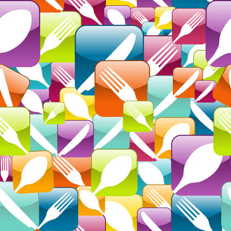 Multicolored cutlery icons pattern background. Vector illustration layered for easy manipulation and custom coloring. Stock Vector - 20602578